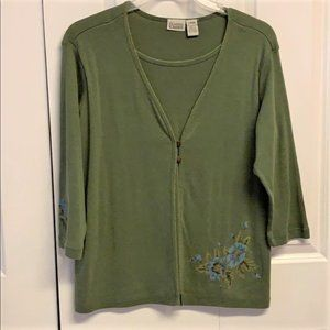 Classic Elements Layered knit top Size L Green